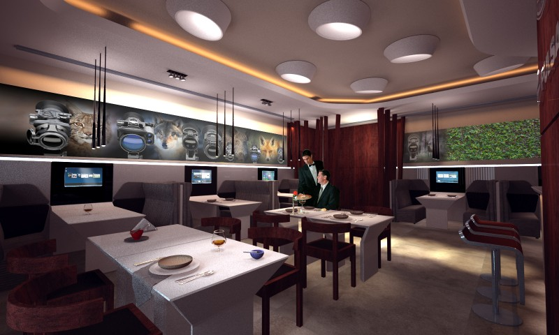 Interior of corporate club-cafe for YUKON